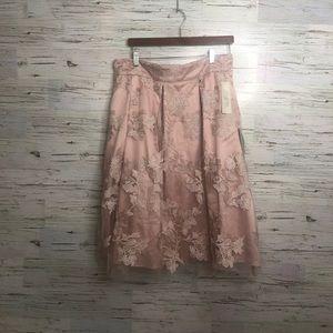 Eliza J NTW pink floral tulle skirt 14